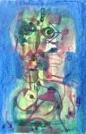 The Couple, 1976, pastel & watercolour, 24x18 cm