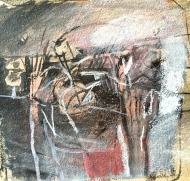 'Holding up the Mirror', 1982, ink and pastel, 16x16 cm