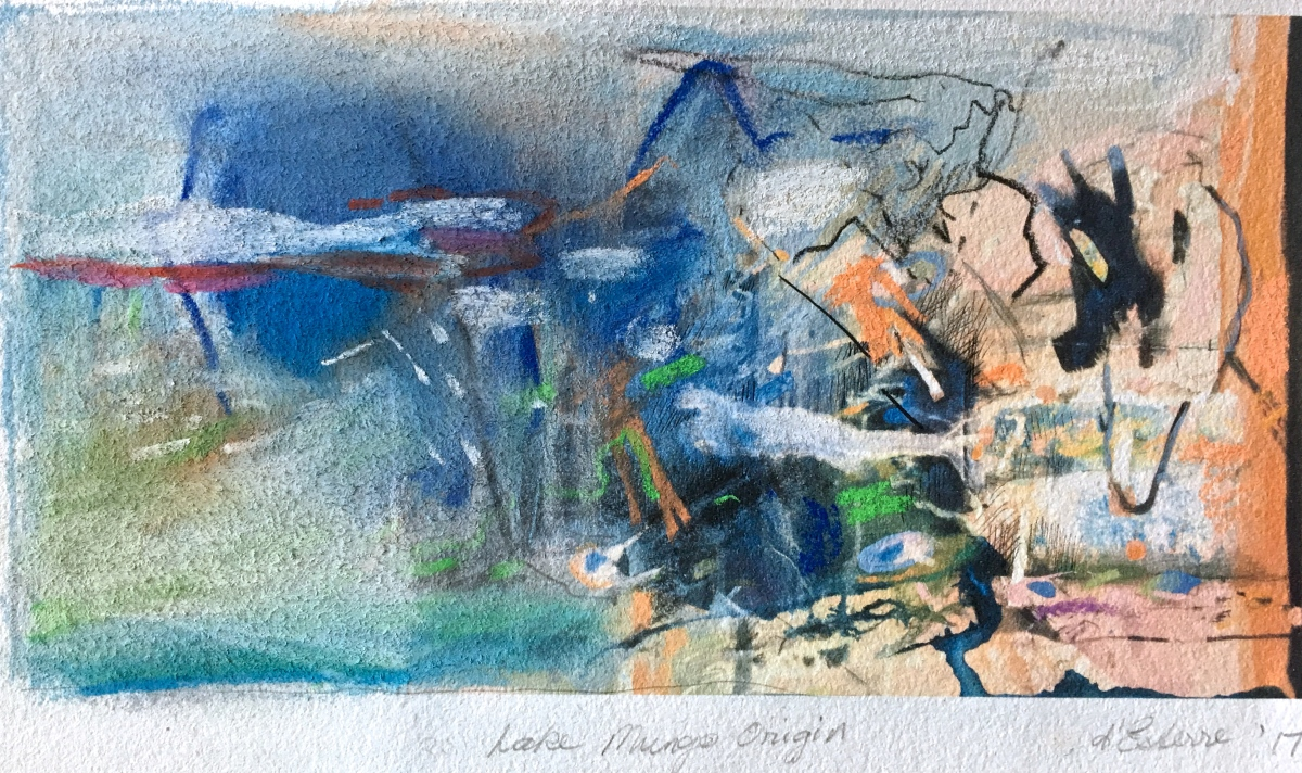 Lake Mungo Origin, 2019, mixed media on BFK Rives, 12x28 cm